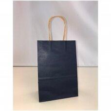 25,5 x 33 cm(h)  Vertikalūs popieriniai maišeliai Kraft tipo su sukto popieriaus rankenėlėmis-Mėlyna spalva.Pakuotė 12 vnt