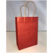 25,5 x 33 cm(h)  Vertikalūs popieriniai maišeliai Kraft tipo su sukto popieriaus rankenėlėmis-Raudona sp. Pakuotė 12 vnt