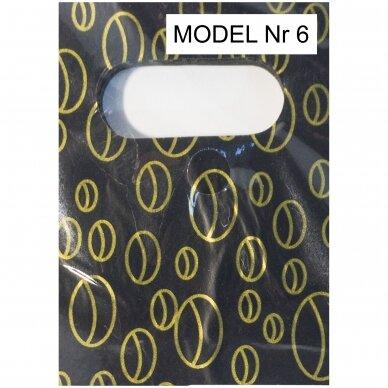 9 x 15 cm 15 mkr storio plastikiniai spalvoti maišeliai SPA su iškirsta rankenėle - prekėms, dovanai.