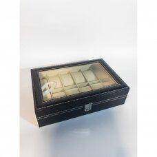 Atidaroma dėžė su stiklu laikrodžiams, apyrankėms. Dirbtinė oda, veliūro vidaus apdaila.