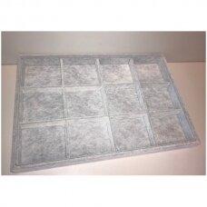 Papuošalų dėžutė 25 x 35 cm, 12 skyrelių, pilkas veliūras, skyrelio matmenys - 75 x 75 mm