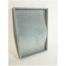 Papuošalų dėžutė 25 x 35 cm grandinėlėms.Vertikali.Pilkas veliūras.