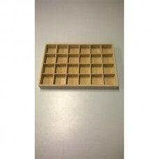 Papuošalų dėžutė 25 x 35 cm, 24 skyreliai, lino imitacija, skyrelio matmenys - 55 x 55 mm