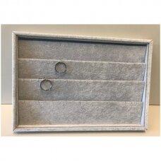 Papuošalų dėžutė 25 x 35 cm pakabukams, pilkas veliūras.