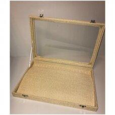 Papuošalų dėžutė  su stikliniu dangčiu  grandinėlėms, dydis 25 x 35 cm , lino imitacija.