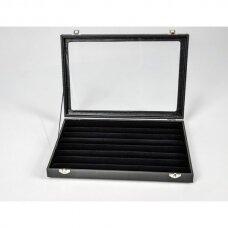 Papuošalų dėžutė 25 x 35 cm su stikliniu dangčiu žiedams, juodas veliūras.