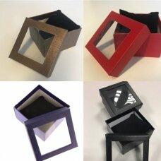 9 x 9 x 5 cm(h) Popierinės spalvotos dovanų pakavimo dėžutės su langeliu.5 GALIMOS SPALVOS!!! Pakuotė 6 vnt