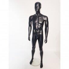 Manekenas vyriškas, VYR-PU5-MAT-J-VD,pilno ūgio,su  veidu,dažytas pusiau matine juoda spalva.