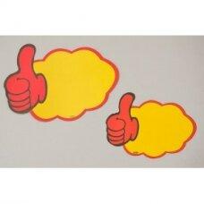 Popierinės akcijų, nuolaidų, reklamos ar informacijos etiketės debesies formos su pirštais.Pakuotėje-10 vnt.
