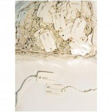 Etiketės su gumyte - juvelyrikos, bižuterijos prekių markiravimui, BIZ-2,5x1,5cm,balta spalva(1000 vnt).