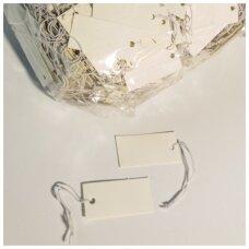Etiketės su gumyte - juvelyrikos, bižuterijos prekių markiravimui, BIZ-3,5x1,8-BALTA(1000vnt).
