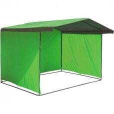 Lauko prekybos palapinės tentas (stogas ir trys sienos), žalia sp., 3mx3m., Lenkija