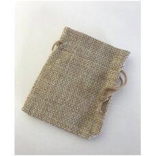 13 x 18 cm Lino dovanų maišeliai:juvelyrikai,bižuterijai,papuošalams.Spalva:natūrali