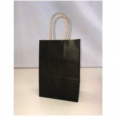 21 x 27cm(h) KRAFT tipo spalvoti popieriniai maišeliai su sukto popieriaus rankenėlėmis - dovanai, prekėms, maisto išsinešimui. Pakuotė-12 vnt. Juoda spalva.