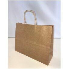 32 x 11 x 25 cm(h)  Horizontalus KRAFT popieriniai maišeliai su sukto popieriaus rankenėlėmis-dovanai, prekėms, maisto išsinešimui.