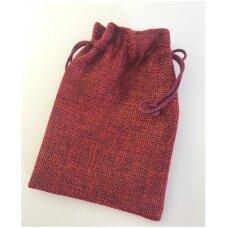 13 x 18 cm Lino dovanų maišeliai:juvelyrikai,bižuterijai,papuošalams.Spalva:bordo