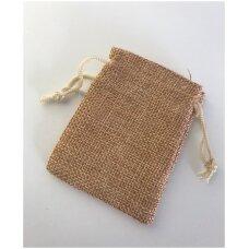 13 x 18 cm Lino dovanų maišeliai:juvelyrikai,bižuterijai,papuošalams.Spalva:ruda
