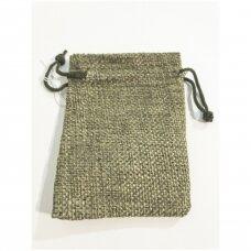 13 x 18 cm Lino dovanų maišeliai:juvelyrikai,bižuterijai,papuošalams.Spalva:samanų
