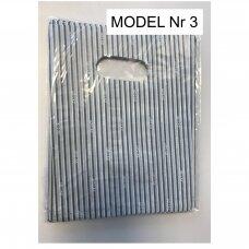 15 x 20 cm 25 mkr storio plastikiniai spalvoti maišeliai SPA su iškirsta rankenėle - prekėms, dovanai. Pakuotė 100 vnt.