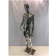 Manekenas vyriškas VYR-S4 - pilno ūgio,be veido,dažytas sidabro spalva. Plastikas. Su  padu.