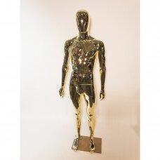 Manekenas vyriškas VYR-G4-GOLD - pilno ūgio,be  veido,dažytas aukso spalva.Plastikas.