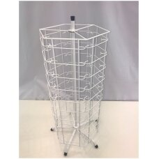 Metalinis sukamas 60 elementų 76-AKI-B stovas akiniams, balta spalva