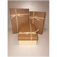 Popierinė dvispalvė dviejų dalių dovanų pakavimo dėžutė 16 x 23 x 9,5(4 mod), 3 vnt komplektas
