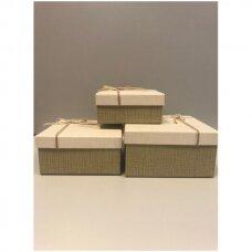 Popierinė dvispalvė dviejų dalių dovanų pakavimo dėžutė 18 x 18 x 9,5(2 mod), 3 vnt komplektas
