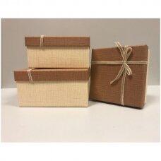 Popierinė dvispalvė dviejų dalių dovanų pakavimo dėžutė 18 x 18 x 9,5(4 mod), 3 vnt komplektas