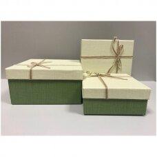 Popierinė dvispalvė dviejų dalių dovanų pakavimo dėžutė 18 x 18 x 9,5(6 mod), 3 vnt komplektas