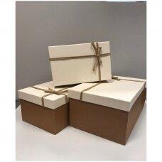 Popierinė dvispalvė dviejų dalių dovanų pakavimo dėžutė 22 x 33 x 15(3 mod), 3 vnt komplektas