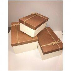 22 x 33 x 15 cm Popierinė dvispalvė dviejų dalių dovanų pakavimo dėžutė, 3 vnt komplektas