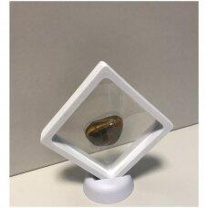 18 x 18 x 2cm(h) Universali dovanų pakavimo dėžutė 3D  su tampria plėvele - papuošalams, juvelyrikai, numizmatikai, nuotraukoms. Balta spalva