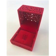 Aksomo dovanų pakavimo dėžutė raudonos spalvos 6 x 6 x 4,7-V