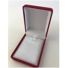 Aksomo dovanų pakavimo dėžutė raudonos spalvos 7,5 x 6 x 3-V