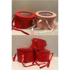Spalvota popierinė dviejų dalių dovanų pakavimo dėžutė G-6790 su skaidriu langeliu dangtyje , raudona sp, 3 vnt komplektas