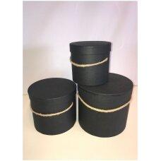 Spalvota popierinė dviejų dalių dovanų pakavimo dėžutė su virveline rankena G-9175, juoda, 3 vnt komplektas