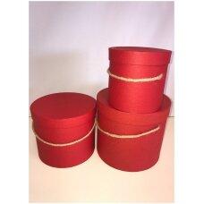 Spalvota popierinė dviejų dalių dovanų pakavimo dėžutė su virveline rankena G-9175, raudona, 3 vnt komplektas