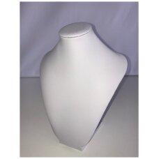 Paminkštintas kaklo papuošalų stovas KAK-M, balta pusiau matinė, dirbtinė oda.Aukštis-22cm, 27cm, 32cm, 37cm.