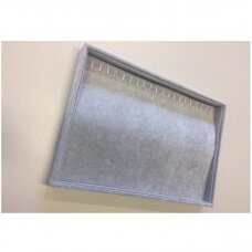 Papuošalų dėžutė 25 x 35 cm grandinėlėms.Horizontali.Pilkas veliūras.