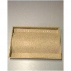 Papuošalų dėžutė 25 x 35 cm grandinėlėms, lino imitacija, horizontali.
