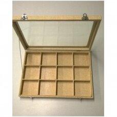 Papuošalų dėžutė 25 x 35 cm su stikliniu dangčiu, 12 skyrelių, lino imitacija,  skyrelio matmenys - 75 x 75 mm