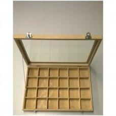 Papuošalų dėžutė 25 x 35 cm su stikliniu dangčiu, 24 skyreliai, lino imitacija, skyrelio matmenys - 55 x 55 mm