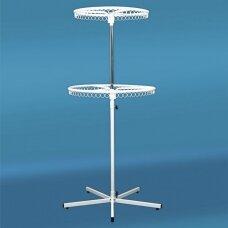 Pastatoma dviejų aukštų reguliuojamo aukščio 12-DRA-P kabykla drabužiams, sidabro spalva