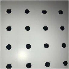 Perforuota plokštė prekybai ar eksponavimui, balta spalva, 122 x 122 x 3 mm. PREKĖ NESIUNČIAMA.