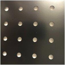 Perforuota plokštė prekybai ar eksponavimui, juoda spalva, 122 x 122 x 3 mm-PREKĖ NESIUNČIAMA.