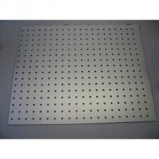 Perforuota plokštė prekybai ar eksponavimui, sidabro spalva, 122 x 122 x 3 mm.PREKĖ NESIUNČIAMA.