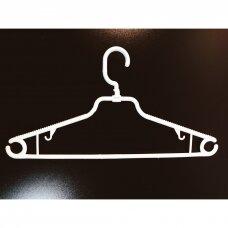 Plastikinė, sukama pakaba su skersiniu drabužiams, SUK-PLA-B,baltos spalvos.Parduodama pakuotėmis po 100 vnt.