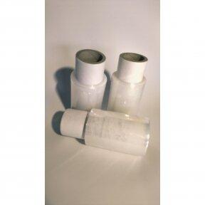 MINI-STRETCH su rankena - tampri, skaidri pakavimo plėvelė, 17 mkr storis,100 mm plotis, 100m. ilgis.