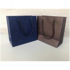15 x 14 cm(h)  Popieriniai pakavimo maišeliai su virvine rankena - dovanai,prekėms,maisto išsinešimui.